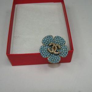 Light Blue Flower Ring Size 6-7